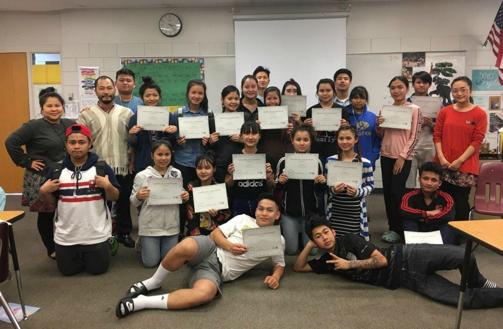Harding High School students pose with their certificates of completion of the KTFP classes on May 9th, 2018