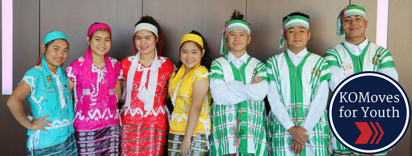 KOM Youth Dancers with the KOMoves for Youth Logo
