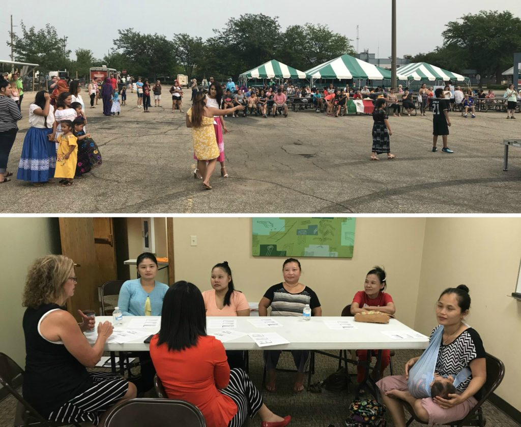 Split image: top section shows tents and performers at the Culture Fest; bottom image shows participants sitting in the meeting about identity theft